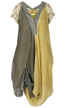 Ecru, dark grey hand block print dress available only at Pernia's Pop-Up Shop.