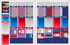 Digital spread using the Patriot Kit! Download the kit to try it out for yourself at https://plannerproblem.wordpress.com/2016/07/03/patriot-full-kit-free-printable-planner-stickers/