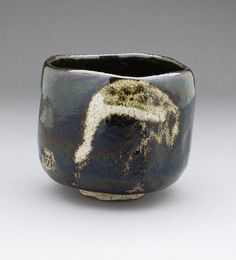 Raku IX (Ryonyu) (Japan, 1756 - 1838)   Black Raku Teabowl 'Shorei' (Aged Pine) with Crane Design, circa 1810-1838  Ceramic, Raku ware; earthenware, Height: 3 15/16 in LACMA Collections Online