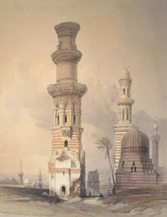 David Roberts - Egypt and Nubia, Volume III; Ruined Mosques in the Desert, West of the Citadel, 1849