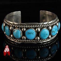 Vintage Navajo old pawn turquoise row sterling silver bracelet Irving Chee