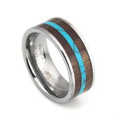 Men's Turquoise strip Black wood inlay tungsten ring