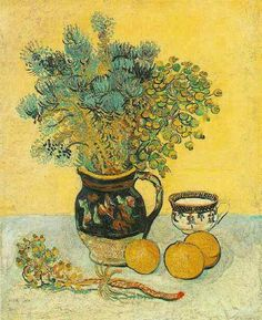 """Vincent van Gogh. """"Still Life: Majolica Jug with Wildflowers"""". Arles: May, 1888. Oil on canvas. 55'0x46'0cm."""