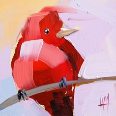 Summer Tanager no. 6 original bird oil painting by Angela Moulton