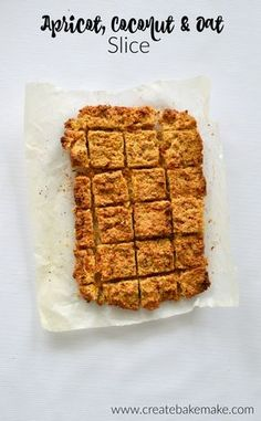 This Apricot, Coconut and Oat Slice is a delicious sweet treat for the kids - and grown ups too! I came up with the slice when I went to make my regular Mu Almond Recipes, Baking Recipes, Cake Recipes, Yummy Recipes, Snacks To Make, Food To Make, Apricot Slice, Oat Slice, Lush