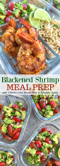 Step up your meal prep game with this super simple, healthy, and delicious Blackened Shrimp Meal Prep! Full of bold flavors and easy to put together. These are packed with blackened shrimp, cilantro lime brown rice, and an incredible avocado salsa. Lunch Meal Prep, Easy Meal Prep, Healthy Meal Prep, Healthy Snacks, Healthy Recipes, Simple Healthy Meals, Clean Eating Recipes, Clean Eating Snacks, Lunch Recipes