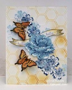 Stampin' Up! Honeycomb embossing folder, stamp sets Papillon Potpourri & Stippled Blossooms