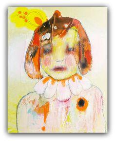 Original Painting Acrylic Mixed Media Portrait , Modern Art by Christina Romeo via Etsy