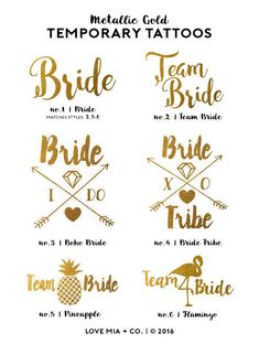 Bachelorette Tattoos | Metallic Gold Temporary Tattoo, Team Bride Tribe, Beach Bachelorette Party Tattoo Favor, Pool Party Bachelorette by LoveMiaCo on Etsy https://www.etsy.com/listing/452334896/bachelorette-tattoos-metallic-gold