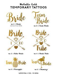 Bachelorette Tattoos   Metallic Gold Temporary Tattoo, Team Bride Tribe, Beach Bachelorette Party Tattoo Favor, Pool Party Bachelorette by LoveMiaCo on Etsy https://www.etsy.com/listing/452334896/bachelorette-tattoos-metallic-gold