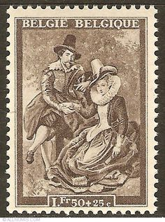 1,50 Francs + 25 Centimes - P.P. Rubens - Selfportrait with Isabella Brant, Art-Painting - Belgium - Stamp - 10813
