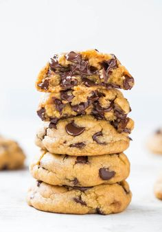 The Best Soft  Chewy Coconut Oil Chocolate Chip Cookies - You'll never miss the butter in these cookies that are so soft  loaded to the max with chocolate!