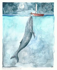 Heart of the Sea - watercolor illustration print - Whale ocean nightsky boat girl moon nautical ocean themed watercolor print