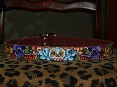 Tattoo leather dog collar Dia de los muertos skulls handpainted M/L. $49.99, via Etsy.