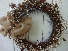 Rusty Star Wreath Farmhouse Wreath Pip Berry Wreath Primitive Wreath Wreath Spring and Summer Wreath Front Door Wreath Twig Wreath, Diy Fall Wreath, Summer Wreath, Tulle Wreath, Burlap Wreaths, Berry Garland, Berry Wreath, Primitive Wreath, Primitive Decor