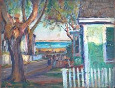 """Street Scene, Provincetown, Massachusetts,"" Max Kuehne, oil on wood panel, private collection."