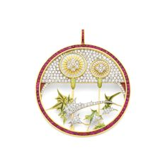 """Hidden Flowers PB-745. 18kt yellow gold pendant brooch with """"plique-à-jour"""" and """"basse taille""""fired enamel, rubies and diamonds. #jewelry #artnouveau #enamel #barcelona"""