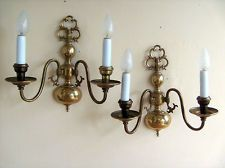 large pair of vintage french 2 sconce brass wall lights in the hollandais style
