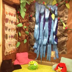 Rainforest classroom reading nook and student store