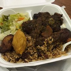 Who's hungry? Recipes at http://jamaicans.com/recipes/  by @thesuperflynerd #jamaicanfood #foodporn #oxtail #cabbage #riceandpeas