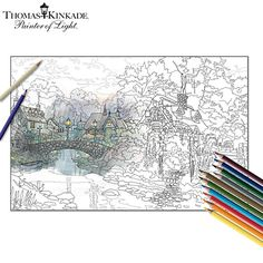 Thomas Kinkade Adult Coloring Kit Collection With Pencils Coloring Pages For Grown Ups, Adult Coloring Pages, Coloring Books, Colouring, Kinkade Paintings, Oil Paintings, Thomas Kinkade Art, Thomas Kincaid, Fantasy Images