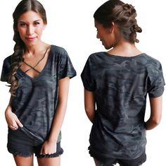 Sexy V-Neck Short Sleeve T-Shirt 175e44e7825c