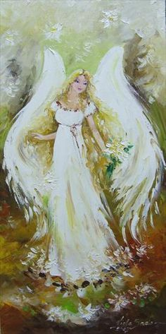 Pretty angel painting in creamy colors iwth white flowers. Viola Sado