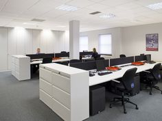 Open plan office with black pedestals #openplanoffice Cubicles.com