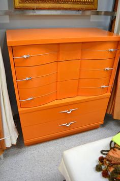 Funky Tangerine Orange Bow Fronted Tallboy Dresser with Silver Metal Pulls - Has 5 Dovetailed Drawers - Wavy
