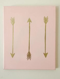 Outstanding Hand Painted Bohemian Gold Accent Canvas Decor Arrows Hipster Pink Gold Leaf Dorm R Gold Canvas, Cute Canvas, Diy Canvas Art, Canvas Crafts, Diy Wall Art, Diy Art, Simple Canvas Art, Canvas Decor Diy, Canvas Ideas