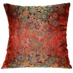 Eb130-Red-Turquoise-Gold-Yellow-Daisy-Rayon-Brocade-Cushion-Cover-Pillow-Case