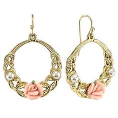 1928 Jewelry Gold Tone Pink Porcelain Rose with Costume Pearl Front Face Hoop Earrings Flower Earrings, Hoop Earrings, Chic Fashionista, Rose Jewelry, Jewelry Companies, Fashion Earrings, Jewelry Collection, Vintage Jewelry, Porcelain