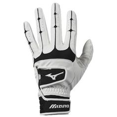 Mizuno Anti-Shock Batting Glove, Large, Black/White by Mizuno. $16.98. The Mizuno Anti-Shock batting glove features a double closure for an extremely controlled fit.  The Anti-Shock also features our Flexmesh back for comfort and breathability, and our new Bio-Gel pads for shock absorption.