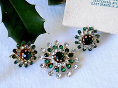 Emerald Green and Clear Rhinestone Pin & Earrings Set Sparkly and Bright 1950s by EyeSpyGoods on Etsy