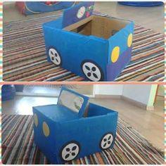 Resultado de imagem para como fazer um carro para a pessoa entrar com caixa de papelão