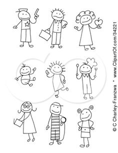 Clipart Illustration of a Stick People