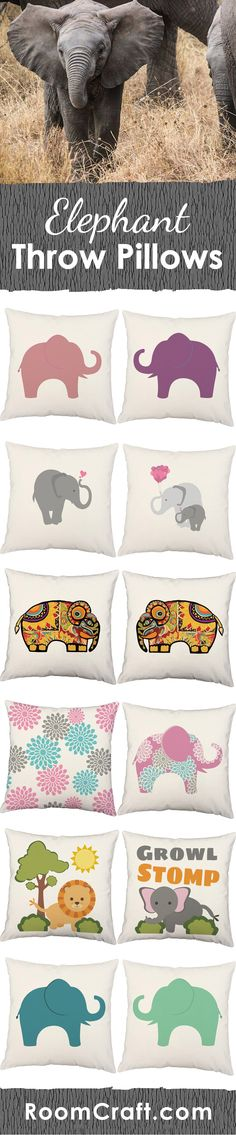 Celebrate your love for this majestic animal with these adorable elephant throw pillows. Each one is offered in multiple colors, sizes and fabrics making decorating fun and easy. These animal pillow cover sets are made to order in the USA and feature 3 wooden buttons on the back for closure. Choose your favorite and create a truly unique pillow set that will bring the safari right to your home! #roomcraft