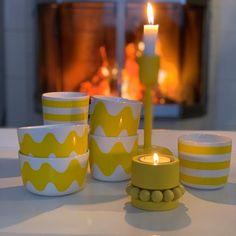 ☀️keltaista energiaa ☀️☀️☀️☀️ #keltainen #keltainenkevät #marimekko #oiva #lokki #tasaraita #60 #years #marimekkohome #iittala… Marimekko, Ikon, My Dream Home, Candle Holders, Pottery, Candles, Ceramics, Holidays, Dishes