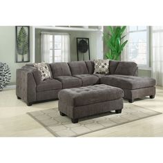 Emerald Trinton Pewter 2pc Sectional Sofa - 19530287 - Overstock - Big Discounts on Emerald Home Furnishings Sectional Sofas - Mobile