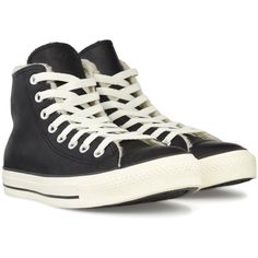 CONVERSE All Star Hi Leather (Lined) shoes ($50) ❤ liked on Polyvore featuring men's fashion, men's shoes, men's sneakers, shoes, converse, sneakers, sapatos, black, mens black leather sneakers and mens black leather shoes