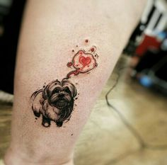 By Felipe Rodrigues | Brazilian Tattoo Artist | #Dog #Lhasa #Love #Heart #Tattoo