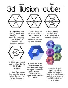 Op-Art: 3D Illusion Cube eigene Notizen: Verwenden Sie dieses Muster dann Zentangle Muster in einer Weise, die die dreidimensionale Wirkung hält hinzufügen 5007
