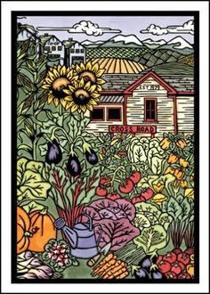 $2.95 Vegetable Coop Garden - Single Blank Sarah Angst Greeting Card - Farmer's Market Veggie Co-op Card by SarahAngstArt on Etsy #sarahangstart