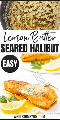 Pan Seared Halibut Recipe With Lemon Butter Sauce - This pan seared halibut recipe with lemon butter sauce takes just 20 minutes... which you'd never guess with how fancy pan fried halibut looks. I'll show you how to pan sear halibut, plus how to make the perfect sauce for halibut. #wholesomeyum #fish #halibut #seafood #fishrecipes #ketodinner #easydinner #lowcarbdinner #lemon #butter
