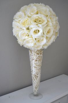 Gorgeous white carnation ball and crystal centerpieces place the ivory cream flower ball 14 size wedding centerpiece ivory kissing ball ivory pomander premium soft silk roses junglespirit Image collections
