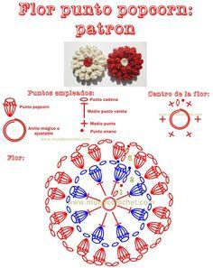 Patron flor en punto popcorn a crochet o ganchillo