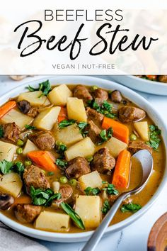 Have a hearty dinner in no time at all with this plant-based version of the classic comfort food dish. I give you: Beefless Beef Stew! One Pot Dishes, Food Dishes, Allergy Free Recipes, Vegan Recipes, Dinty Moore Beef Stew, Beef Tips, All Vegetables, Vegan Soup, Winter Food