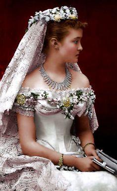 4th child of Prince Friedrich Carl Nicolaus of Prussia (1828-1885) &  Princess Maria Anna of Anhalt-Dessau (1837–1906) & wife of Prince Arthur (Arthur William Patrick Albert) (1850-1942) Duke of Connaught & Strathearn. Princess Louise Margaret of Prussia (Louise Margaret Alexandra Victoria Agnes) (1860-1917) in her wedding dress 1879.