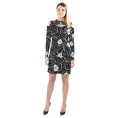 7cd080a980 HOT Shoulder Dress Black White Flower Juleez Cold Shoulder Long Sleeve Dress  (Model D37)