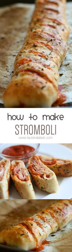 In a nutshell, stromboli is basically a pizza roll. You roll pizza dough out into a rectangle, cover with sauce, top with meat and cheese, roll up, cut in some slats, bake and serve. Super simple and totally do-able for the home cook!
